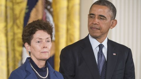 U.S. President Barack Obama presents the Presidential Medal of Freedom to Tam O'Shaughnessy, Sally Ride's life partner of 27 years, on behalf of Ride in November 2013. Ride was posthumously awarded the medal, the nation's highest civilian honor. Ride died on July 23, 2012, after a long bout with pancreatic cancer. She was 61.