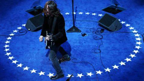 """Grohl and the Foo Fighters perform after Joe Biden was nominated for vice president at the  <a href=""""http://www.cnn.com/2012/09/06/politics/dnc-celebs/"""" target=""""_blank"""">2012 Democratic National Convention</a> in Charlotte, North Carolina."""