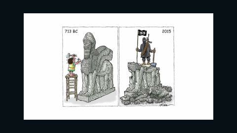 A cartoon shows ISIS destroying historic artifacts.