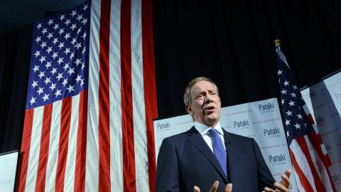 Former New York Gov. George Pataki is interviewed by the media prior to announcing his candidacy for the 2016 Republican presidential nomination May 28.