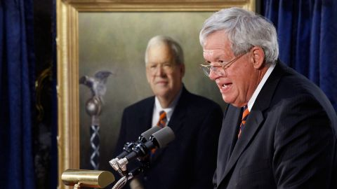 """Former Speaker of the House <a href=""""http://cnn.it/1J5XO2p"""" target=""""_blank"""" target=""""_blank"""">Dennis Hastert</a> was sentenced to 15 months in prison and ordered to pay $250,000 to a victims' fund in April after a hush-money case revealed he was being accused of sexually abusing young boys as a teacher in Illinois."""