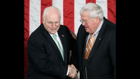 Vice President Dick Cheney greets Hastert before Latvian President Vaira Vike-Freiberga speaks to a joint meeting of Congress in June 2006.  Earlier that month, Hastert had surpassed Joe Cannon to become the longest-serving Republican speaker of the House.