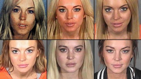 Actress Lindsay Lohan has had numerous legal troubles over the past eight years, including arrests for drunken driving, reckless driving and shoplifting. Here are six of her booking mug shots, from top left to bottom right: July 2007, November 2007, July 2010, September 2010, October 2011 and March 2013. Lohan is finally off probation after completing 125 hours of community service.