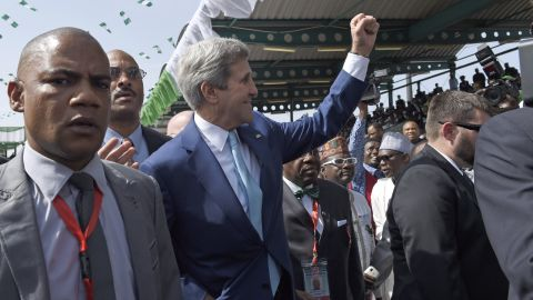 U.S. Secretary of State John Kerry arrives for the inauguration on May 29.