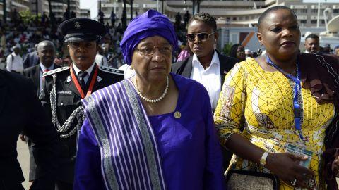 Liberian President Ellen Johnson Sirleaf arrives for the ceremony.