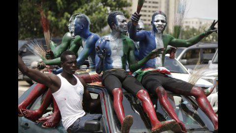 Buhari supporters celebrate after his inauguration on May 29.