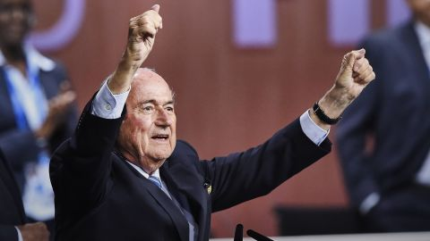 FIFA President Sepp Blatter gestures after being re-elected following a vote to decide on the FIFA presidency in Zurich on May 29, 2015. Sepp Blatter won the FIFA presidency for a fifth time Friday after his challenger Prince Ali bin al Hussein withdrew just before a scheduled second round. AFP PHOTO / MICHAEL BUHOLZERMICHAEL BUHOLZER/AFP/Getty Images