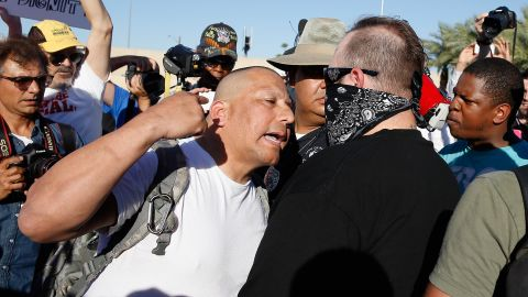 Caption:PHOENIX, AZ - MAY 29: Protesters and counter-protesters argue outside the Islamic Community Center on May 29, 2015 in Phoenix, Arizona. Crowds gathered in response to a planned 'freedom of speech' demonstration where attendees were encouraged to bring weapons and 'draw Mohammed'. (Photo by Christian Petersen/Getty Images)