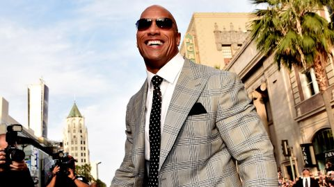 """Actor Dwayne Johnson arrives at the premiere of Warner Bros. Pictures' """"San Andreas"""" at the Chinese Theatre on May 26, 2015, in Los Angeles."""