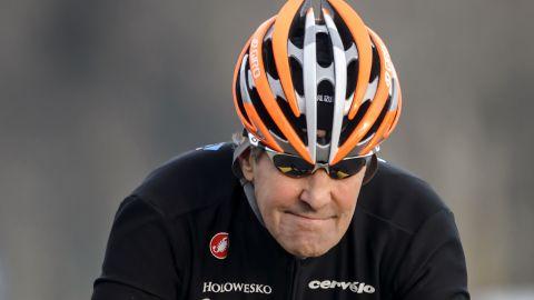 U.S. Secretary of State John Kerry rides his bike in Lausanne, Switzerland, in March.