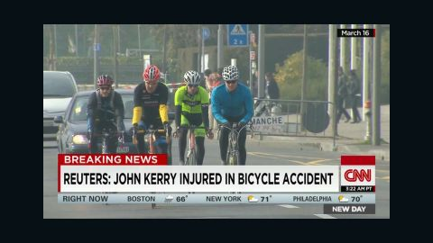 File photo of John Kerry riding his bike on March 18, 2015.
