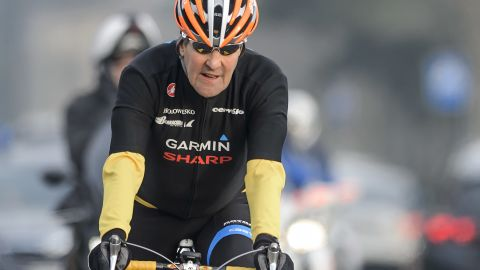 Kerry rides his bike on March 16, during a break in talks  in Lausanne, Switzerland, about Iran's nuclear program.