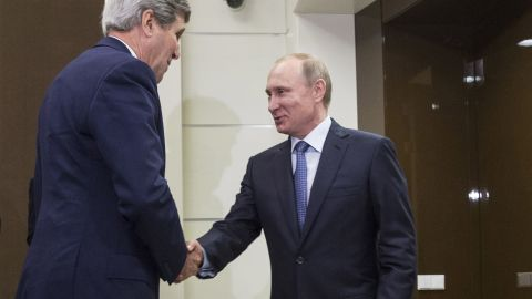 Kerry is welcomed by Russian President Vladimir Putin at the presidential residence of Bocharov Ruchey in Sochi, Russia, on Tuesday, May 12.