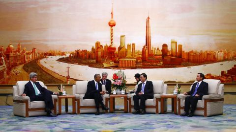 Kerry and U.S. President Barack Obama meet with Zhang Dejiang, chairman of the Standing Committee of China's National People's Congress, on November 12, 2014, at the Great Hall of the People in Beijing.