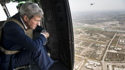 Kerry looks out over Baghdad, Iraq, from a helicopter on September 10, 2014. Kerry flew into Iraq for talks with its new leaders on their role in a long-awaited new strategy against ISIS militants.