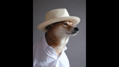 Panama hat, white polo shirt