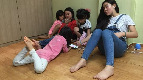 Children relax in their spare time at the Kumgang school in Seoul.