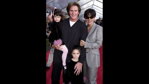 """The Jenner family attends the premiere of """"The Emperor's New Groove"""" in 2000. Jenner and Kris had two kids together: Kylie, left, and Kendall."""