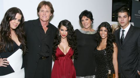 """Jenner attends the premiere of the reality show """"Keeping Up with the Kardashians"""" in 2007 with, from left, Khloe Kardashian, Kim Kardashian, Kris Jenner, Kourtney Kardashian and Rob Kardashian."""