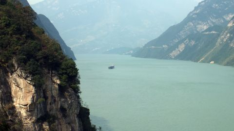 A boat on the Three Gorges reservoir area in Yichang, central China's Hubei province.