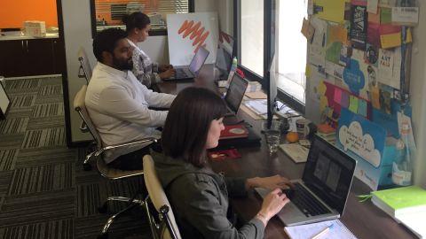 Thundafund staff Alexandra, Subhas and Nazli at their Cape Town HQ