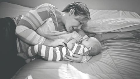 """Brittnae had hoped to breastfeed her son, Mason, but he continued to lose weight after birth. After several attempts to increase her supply, she began to feed Mason bottles of donated breast milk. """"My struggle to breastfeed and my journey to find what was best for our family has completely humbled me,"""" Brittnae wrote on Whitman's blog."""