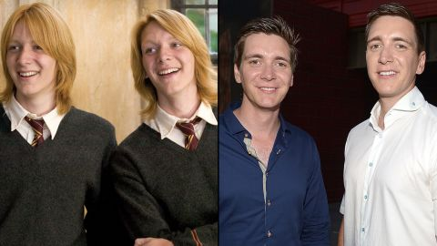 """The brothers who played the elder Weasleys -- George and Fred -- <a href=""""http://www.dailymail.co.uk/tvshowbiz/article-2169421/Harry-Potter-stars-James-Oliver-Phelps-ditch-ginger-hair-dye-head-Hollywood.html"""" target=""""_blank"""" target=""""_blank"""">don't have the trademark ginger hair anymore</a>, but they're still recognizable as the prankster pair. James and Oliver Phelps are still happy to talk all things """"Potter,"""" even as they move on to other endeavors. James has been active on stage, and Oliver has been traveling in support of his website, <a href=""""http://www.jopworld.com/category/blog/"""" target=""""_blank"""" target=""""_blank"""">JopWorld.com.</a>"""