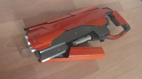 This is just one of many laser guns Priebe has made and some of the less powerful examples are also for sale. Guns and other props can be custom-made to order.