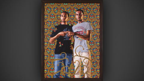 Here, Kehinde reinterprets a classical French painting of a couple (next slide), in this case with two men.