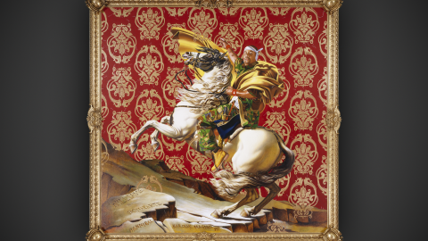 """""""What I choose to do is to take people who happen to look like me -- black and brown people all over the world, increasingly -- and to allow them to occupy that field of power.""""<br /><br />Much of his work focuses on reinterpreting classic works of art, like Jacques-Louis David's famous portrait of Napoleon crossing the Alps (next slide) atop his favorite horse, Marengo."""