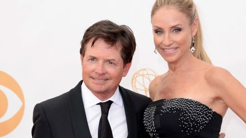Actors Michael J. Fox and Tracy Pollan arrive at the 65th Annual Primetime Emmy Awards held at Nokia Theatre L.A. Live on September 22, 2013 in Los Angeles, California.