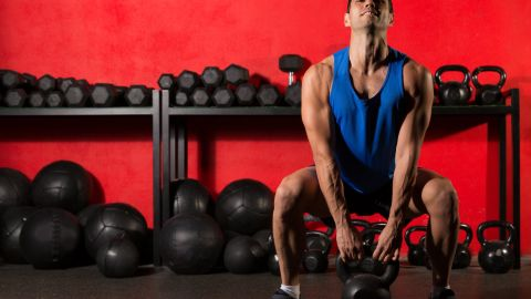 <strong>Kettlebell swing:</strong> If performed incorrectly, the repetitive swinging motion could result in rotator cuff injury.