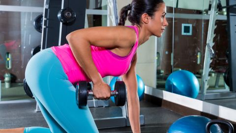 <strong>Bent-over row:</strong> Hinging from the waist causes your shoulders to roll forward, which can contribute to poor posture.