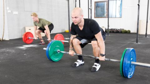 <strong>Romanian dead lift: </strong>Most commonly, a person will fall into hyperextension through the low back while lowering and lifting weight, which could result in lumbar disc injury or muscular spasm.