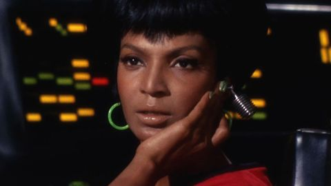 """Nichelle Nichols played Lt. Uhura, the communications officer on the Starship Enterprise, in the original """"Star Trek"""" TV series and films. In the recent movie reboots, her role was played by Zoe Saldana."""