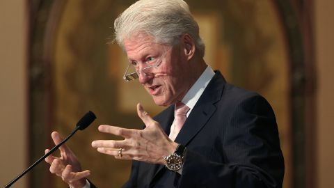 Former US President Bill Clinton speaks in Washington, DC, in 2015. It was part of a series of lectures he was giving.