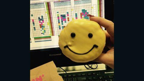 Cheeranan Noomnim in Thailand says smiley faces abound when looking at this banana custard stuffed doughnut.