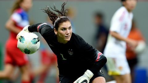 Goalkeeper Hope Solo in action for the US National Women's Team.