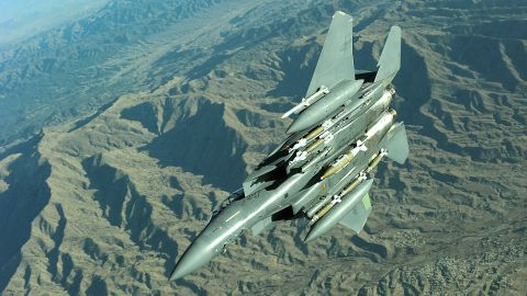 The Strike Eagle is a version of the air superiority fighter adapted to perform ground-strike missions. With a crew of two, the twin-jet can carry and deploy most weapons in the Air Force inventory and operate in any weather. The F-15E was first delivered in 1988. The Air Force lists 219 in its fleet.