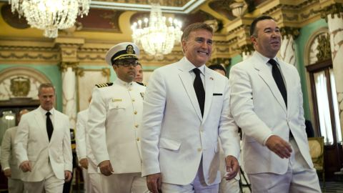 U.S. Ambassador to the Dominican Republic and gay rights activist James Brewster, center, arrives to present his credentials to Dominican President Danilo Medina in December, 2013, during a ceremony at the National Palace in Santo Domingo.