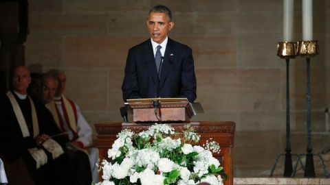 President Barack Obama delivers the eulogy in honor of Beau Biden on June 6.  The President struggled for composure at several points during his tribute. <br />