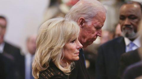 Vice President Joe Biden and his wife, Jill Biden, depart after the service on June 6.