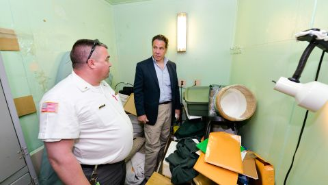 """Gov. Andrew Cuomo, shown during a tour of the prison, said of the escapees: """"These are dangerous people. They are nothing to be trifled with."""""""
