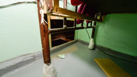 The hole the inmates cut into a cell wall to escape. The men had side-by-side cells and apparently had obtained power tools to cut through the steel wall, authorities said. <br />