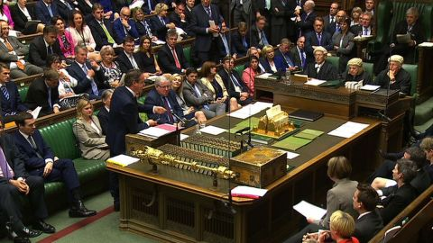 """In a still video grab taken from footage broadcast by the UK Parliaments Parliamentary Recording Unit (PRU) on June 3, 2015 British Prime Minister David Cameron gestures as he responds to a question during prime minister's question time in the House of Commons in London on June 3, 2015. RESTRICTED TO EDITORIAL USE - MANDATORY CREDIT """" AFP PHOTO / PRU """" - NO MARKETING NO ADVERTISING CAMPAIGNS - NO RESALE - NO DISTRIBUTION TO THIRD PARTIES - 24 HOURS USE - NO ARCHIVES-/AFP/Getty Images"""