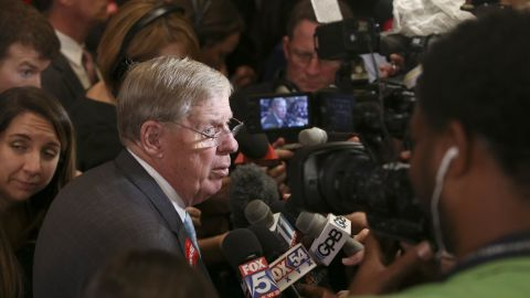 U.S. Sen. Johnny Isakson (R-GA) speaks with members of the media during an election party for Republican U.S. Senate candidate David Perdue at the InterContinental Buckhead November 4, 2014 in Atlanta, Georgia.
