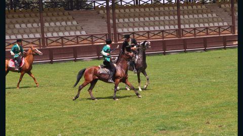 Players riding Karabakh horses play Chovgan, an early form of polo, in Baku ahead of the European Games in the Azerbaijani capital.