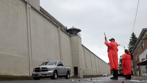 """State corrections officers monitor traffic June 8 at the Clinton Correctional Facility. <a href=""""http://www.cnn.com/2015/06/06/us/gallery/new-york-escapees/index.html"""" target=""""_blank"""">See photos of the route the escaped prisoners took</a>"""