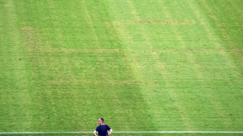 The imprint of a Nazi swastika appeared embedded on the pitch used for Croatia's Euro 2016 home qualifier against Italy.