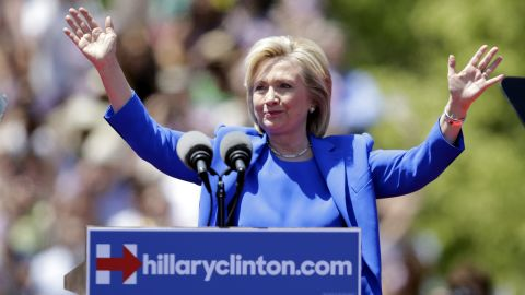 Democratic presidential candidate, former Secretary of State Hillary Rodham Clinton gestures before speaking to supporters Saturday, June 13 on Roosevelt Island in New York, in a speech promoted as her formal presidential campaign debut.